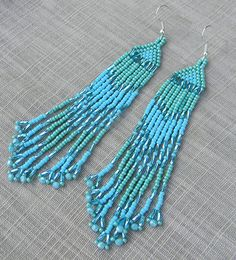 Turquoise and Blue Native American Style Long Seed by Anabel27shop,