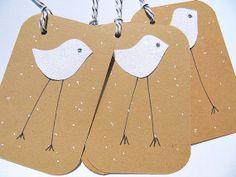 Christmas Tags - Christmas Glitter Chick Gift Tags - Kraft Paper Gift Tags - Glitter Tags  -  Holiday Tags - WCGCT