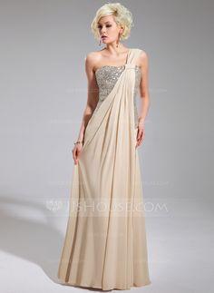 Vestidos princesa/ Formato A Um ombro Longos De chiffon Lantejoulas Vestido de festa com Pregueado (017019740)