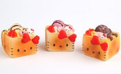 Sanrio Hello Kitty Squishy Lovely Sweets Series Brick Toast Ball Chain -  - 2
