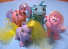 My Little Pony.  They still have some in a tub stored away.  They were cute, and had accessories too.