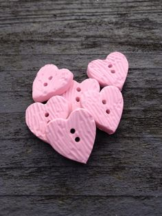 HANDMADE BUTTONS. Gorgeous Polymer Clay pink textured baby/children's buttons, .. Baby Pink Colour, Polymer Clay Beads, Handmade Baby, Heart Shapes, Buttons, Texture, Create, Etsy, Children