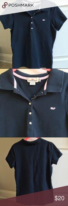 Vineyard Vines Polo Navy blue shoreline polo shirt. Size medium. Vineyard Vines Tops Button Down Shirts