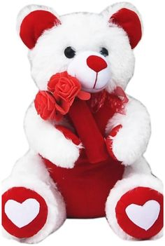Glorious Trader Amazingly Lovable Beautiful Teddy Bear in White & Rose Red Color - Happy Teddy Day Images, Happy Teddy Bear Day, Cute Teddy Bear Pics, Valentines Day Teddy Bear, Teddy Bear Images, White Teddy Bear, Teddy Bear Pictures, Happy Valentines Day Images, I Miss You Cute