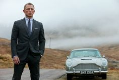 Sony Pictures release photo from Skyfall with Daniel Craig's James Bond with the classic Goldfinger Aston Martin.