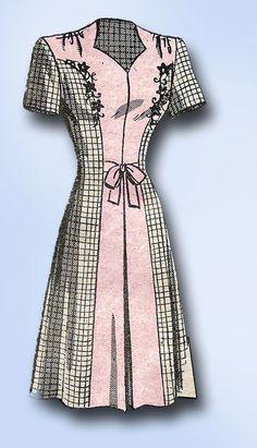 1940s Original Vintage Mail Order Pattern 9381 Uncut WWII Misses Swing Dress 32B