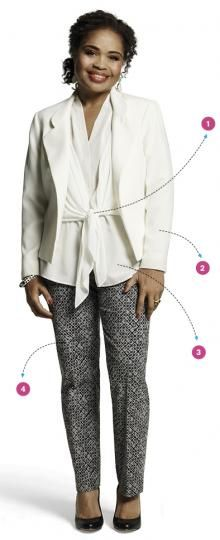 Belly Buster #4: Proportion  Stop hiding your waist under big and baggy.  layers of varying lengths  The jacket Lycra for stretch,  Interior panels of fabric (stitched into the jacket) get tied at the belly button, allowing soft tails to provide strategic coverage.   The longer, slightly A-line underlayer (a cream shell) hangs below the jacket's hem. Short over longer, jacket over shell—creates a waistline.   pants are panels of reinforced Lycra that compress the belly and offer a slight…