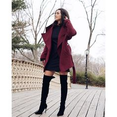 Loving Elma Beganovich's look here. She teams our black knee high boots with a simple turtle neck dress and rich burgundy waterfall coat Burgundy Dress Outfit, Burgundy Shoes, Black Thigh High Boots, Knee High Boots, Black Knees, Coats For Women, Plus Size Fashion, Cute Outfits, Leather