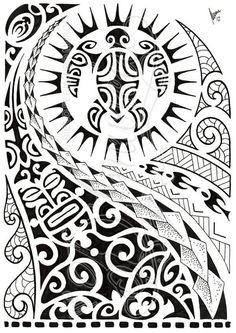 Latest Black Polynesian Half Sleeve Tattoo Design