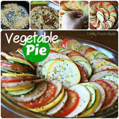 Vegetable Pie (aka Vegetable Tian)  Veggies topped with melted cheese.... YUM!