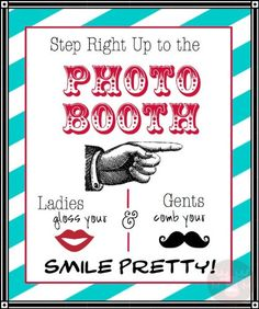 Photo Booth Props - Photo Booth Sign - Ladies & Gents - Vintage Carnival Colors