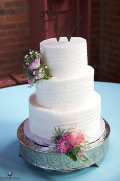 Clean white cake with beautiful accents