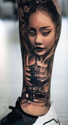 Japanese Girl Tattoo, Japanese Temple Tattoo, Japanese Tattoo Designs, Japanese Sleeve Tattoos, Best Sleeve Tattoos, Cool Forearm Tattoos, Bicep Tattoo, Body Art Tattoos, Hand Tattoos