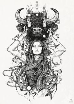 It would make a beautiful tattoo Juxtapoz Magazine - Richey Beckett Illustration Tatoo Art, Tattoo Drawings, Art Drawings, Taurus Art, Taurus Woman, Astrology Taurus, Scorpio Man, Astrology Tattoo, Virgo