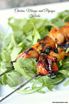 How easy is this for Phase 1 lunch? 4-ingredient Chicken, Mango and Papaya Kebabs - this makes enough chicken to serve 8, so grill some extra fruit!