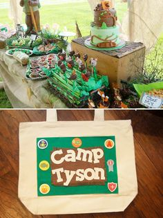 A camping themed birthday party. Smores kit to take home, a scavenger hunt, sand dig. I am totally doing this! Camping Parties, Camping Theme, Backyard Camping, Camping Outdoors, Camping Ideas, Boy Birthday Parties, Birthday Fun, Backyard Birthday, Kid Parties