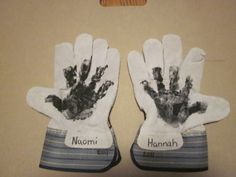 Great Father's Day gift.  Handprint of each  child, their name and year on work gloves.