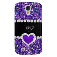 Elegant Classy Purple Black Glitter Look 2 Samsung Galaxy S4 Cover