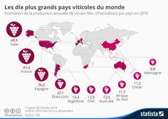 Les dix plus grands pays viticoles du monde.  #vin #wine #winelovers #degustations #oenologie #cultureduvin #regionsviticoles