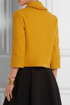 Mustard silk and wool-blend crepe Button fastenings through front 66% silk, 34% wool; trim: 50% viscose, 50% cotton; lining1: 52% acetate, 48% viscose; lining2: 100% viscose Dry clean Made in Italy As seen in THE EDIT magazine