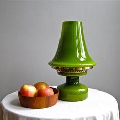 Hans Agne Jakobsson Green Glass Table Lamp Mid Century Modern 1960s Mod Swedish Scandinavian Modern by BarkingSandsVintage on Etsy https://www.etsy.com/listing/172814481/hans-agne-jakobsson-green-glass-table