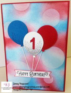I was asked by a friend to make a special birthday card for her 1 year old grandson. The birthday theme was Red, White, and Blue and bubbles and balloons and if I could incorporate those. Happy Birthday 1 Year, Special Birthday Cards, Birthday Cards For Boys, Blue Birthday, Boy First Birthday, Handmade Birthday Cards, Birthday Greeting Cards, Boy Cards, Kids Cards