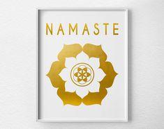 Namaste Lotus Yoga Print Yoga Studio Decor by LotusLeafCreations