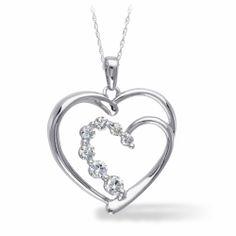 14K White Gold, Diamond Heart Necklace