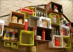 Amazing shadowbox display made from easily-found thrift store items - milk crates, old pop bottles, wine crates.. Diy Garage Shelves, Crate Shelves, Box Shelves, Garage Storage, Attic Storage, Garage Organization, Storage Boxes, Milk Crate Furniture, Repurposed Furniture