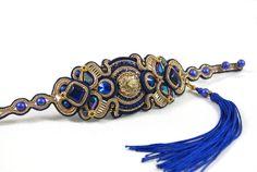 Soutache Bracelet / navy blue, blue, beige, gold /