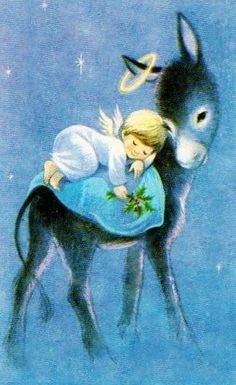 Vintage Christmas Card, Angel sleeping on back of donkey Vintage Christmas Images, Old Fashioned Christmas, Christmas Past, Retro Christmas, Vintage Holiday, Christmas Pictures, Christmas Graphics, Angel Pictures, Christmas Animals