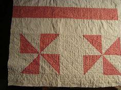 "ANTIQUE 1930 PINWHEEL QUILT PIECE 23""x19"" ~ LANCASTER COUNTY PA"