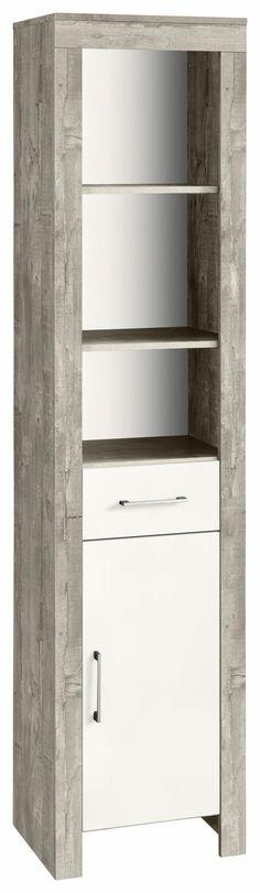 Badezimmer Hochschrank mit zwei Auszügen Weiß-Braun Jetzt bestellen