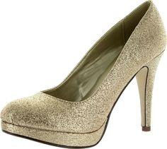 Eiffel Gold Glitter Classic Dress Professional Business Pump Mini Platform-6