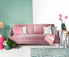 Samt sofa  Samt-Sofa Fluente (3-Sitzer) | Interiors and Spaces