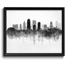 Kansas City Skyline Missouri USA United States Cityscape Art Print Poster Black…