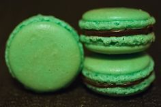 After Eight™ macarons: peppermint macarons filled with mint-chocolate ganache