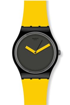 Swatch Watch I love wearing colourful swatch watches. Cool Watches, Watches For Men, Wrist Watches, Mellow Yellow, Yellow Black, Black Opal, Luxury Watches, Fashion Watches, Gifts For Her