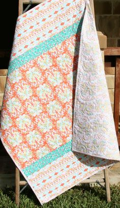 Baby Quilt, Girl, Coral Mint Green, Aztec Damask, Anna Elise Art Gallery, Infant, Crib Bedding, Nursery Decor, Baby Blanket, Ready to Ship by SunnysideDesigns2