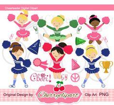 Cheerleader Digital Clipart-Set für persönlichen und kommerziellen Gebrauch-für Kartengestaltung, Scrapbooking und Webdesign