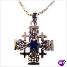 This is a stylish, beautiful Jerusalem Cross necklace accentuated by a small Star of David made with a Blue Lapis stone in it's center. It is surrounded with 4 ornate hearts filled with Marcasites and artistic bail. It is patterned after emblems found on a number of artifacts believed to have been used by first century Jewish followers of Christ, combining early Christian and Jewish symbols. A perfect choice for gift-giving! $49.90