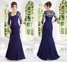 Discount Elegant 2014 Sexy Mermaid Navy Blue Mother of the Bride Dresses Evening Formal Gown with