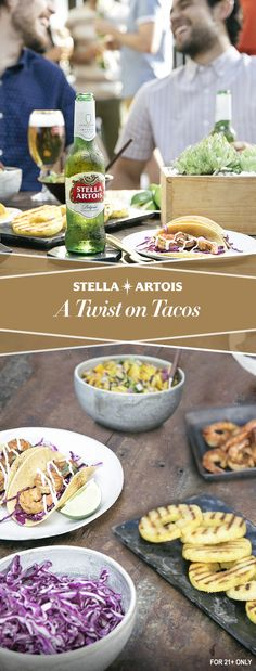 Cater to all your guests' tastes by getting them involved at your next outdoor get-together. Invite them to build tacos to their liking with cabbage slaw, lime juice, shrimp and other eclectic ingredients. Grill & cut seasonal fruits like pineapples & mangoes to add a little summer salsa twist to your tacos. Top it all off with a Stella Artois – a drink that goes with all tastes.