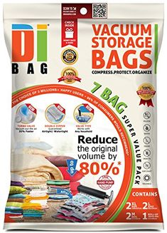 From 13.25 Dibag  7 Vacuum Compressed Storage Saving Space Saver Bags  2x Medium 57x45 Cm 2x Large 85x54 Cm 2x Extra Large 100x67 Cm 1x Travel (without Suction) 57x45 Cm