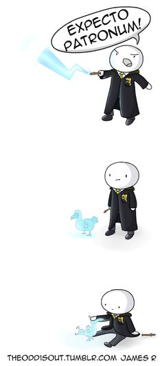 I love this. His patronus is a dodo bird and he just casts it to pet it (something my Hufflepuff self would do as well).