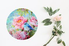 Flower Mouse Pad Floral Mouse Mat Round Mousepad For by BlissNhome