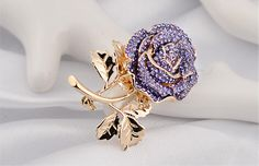 Awesome Design 18K Gold Plated Violet Austria Crystal Flower Brooch #brooches #crystal