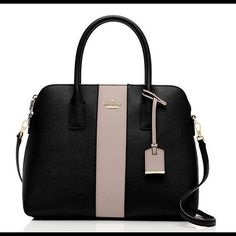 "Authentic Kate Spade Satchel Authentic Kate Spade Cameron Street Stripe Margot Satchel brand new. Color: black/pebble SIZE 10.1""h x 12.7""w x 5.5""d drop length:5"" alternate strap drop length: 22.5"" MATERIAL crosshatched leather with matching trim caroleena spade dot lining 14-karat gold plated hardware style # pxru5969 DETAILS satchel with zip top closure and optional shoulder strap double slide pockets and zipper pocket gold foil emobossed kate spade new york signature with spade stud…"
