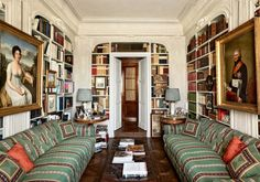 Architect Laura Sartori Rimini and interior designer Roberto Peregalli of Studio Peregalli crafted a Milanese pied-à-terre for an Italian family in the fabric business. The duo drew inspiration from original architectural details to create the library, a