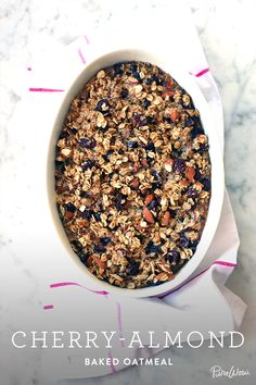 Cherry-Almond Baked Oatmeal via (I would bake this in mini muffin cups) What's For Breakfast, Breakfast Dishes, Breakfast Recipes, Brunch Recipes, Dessert Recipes, Easter Recipes, Desserts, Tasty, Yummy Food